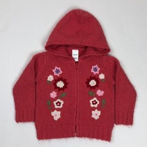 Old Navy Floral Embroidered Sweater with Hood